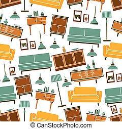 Living room furnitures seamless pattern - Living room soft...