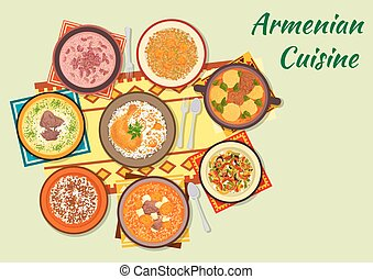Rich and flavorful dishes of armenian cuisine icon -...