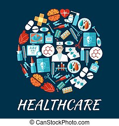 Healthcare flat icons in a shape of circle