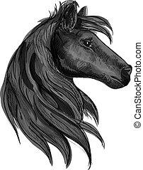 Black purebred horse stallion symbol