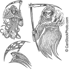 Death with scythe pencil sketch Halloween vector icon Gothic...