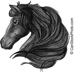 Black stallion horse head sketch - Black horse head icon...