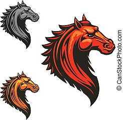 Flaming wild mustang horse for sporting design - Angry mad...