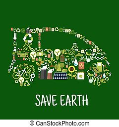 Eco car silhouette with green energy flat icons