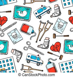 Medical seamless background with medicine icons
