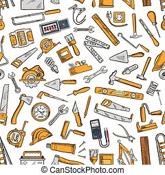 Building tool and equipment seamless pattern of hammer,...