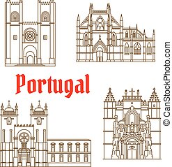 Sights of Portugal linear icon for travel design -...