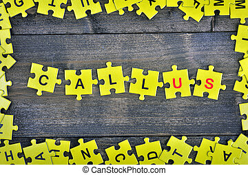 Puzzle with word Call us - Puzzle pieces with word Call us
