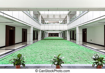 Atrium in an office building - Open atrium with facing...