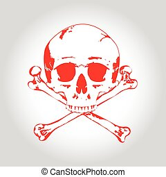 Red Skull and crossbones. Illustration on bright background