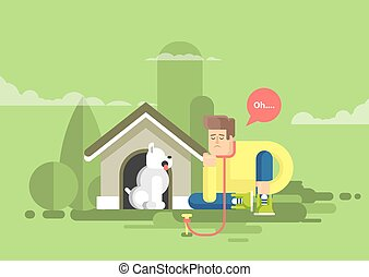 illustration of sad man sits beside a dog at the doghouse -...