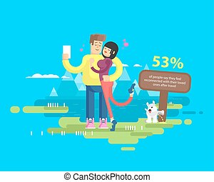 illustration of happy married couple on vacation, man and...