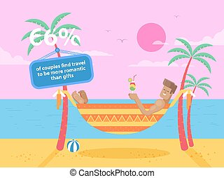 illustration of happy tanned man rests in a hammock - Stock...