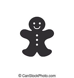 Vector Gingerbread Cookie Icon - Vector Illustration of a...