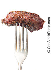 piece of steak on a fork