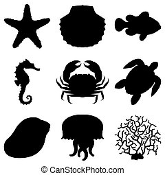 Sea animals. - Set of 9 black silhouettes of sea animals.