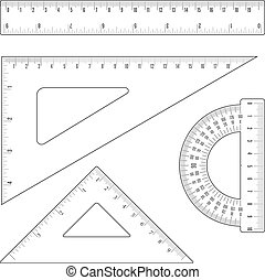 rulers and triangles - Simple flat outline rulers and...