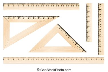 rulers and triangles - Wooden rulers and triangles set with...