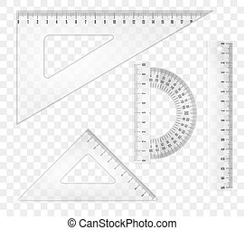 rulers and triangles - White transparent rulers and...
