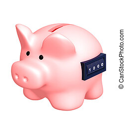 Piggy bank with counter Isolated over white