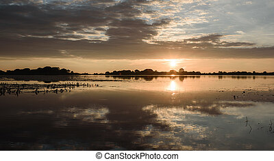 summer sunset on the lake after rain - summer sunset on the...
