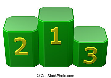 Winners podium with numerals. 3D rendering.