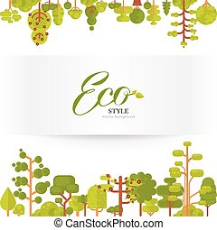 illustration of green trees and bushes top bottom on a white...
