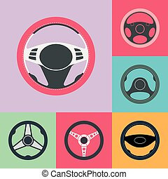Car Steering Wheel Flat Icons Set