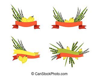sukkot collection, four symbols of Jewish holiday - Vector...
