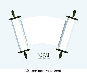 Torah scroll icon - Jewish Torah scroll icon. isolated...