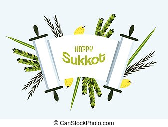 Jewish holiday Sukkot torah with Lulav, ,Etrog, Arava and...