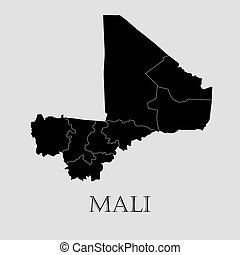 Black Mali map - vector illustration - Black Mali map on...