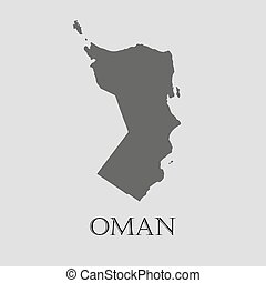 Gray Oman map - vector illustration - Gray Oman map on light...