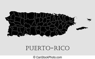 Black Puerto-Rico map - vector illustration - Black...