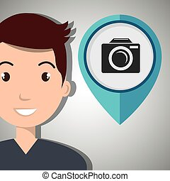 man pin travel location vector illustration design