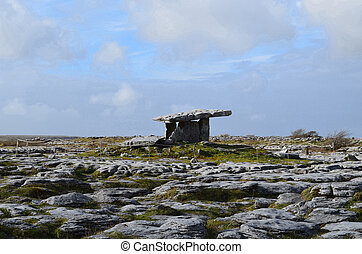 The Burren with Poulnabrone Tomb - Portal tomb known as...