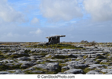 Poulnabrone Dolmen and the Burren - The large rock burren...