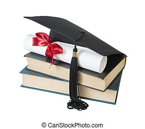 Graduate hat, books and scroll - Black graduate hat, stack...