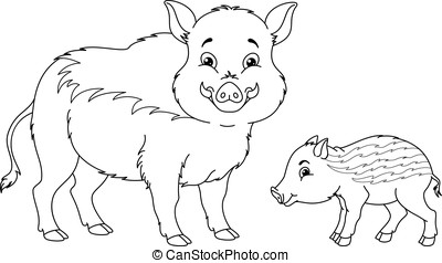 Wild Boar Coloring Page - Wild boar with her cub.
