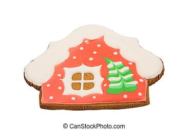 gingerbread house on a white background