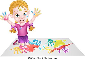 Cartoon Girl Painting - Cartoon girl kid playing with paints...