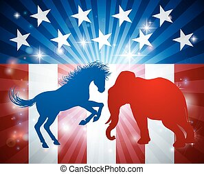 Elephant Fighting Jackass Donkey Election Concept - A donkey...