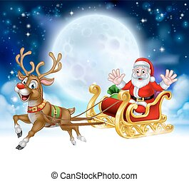 Cartoon Santa Reindeer Sleigh Christmas Scene