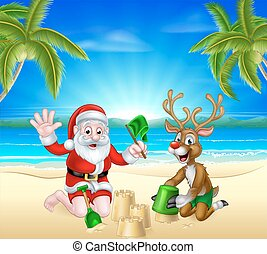 Christmas Santa and Reindeer on Summer Beach