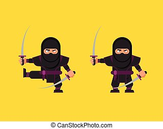 illustration of ninja character in a flat style - Stock...