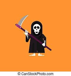 illustration a grim Reaper character for halloween in flat...