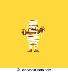 illustration a mummy character for halloween in flat style -...