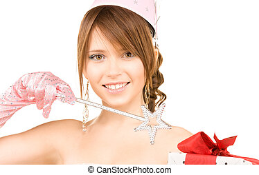 teenage party girl with magic wand and gift box - happy...