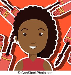 woman make up brush vector illustration graphic