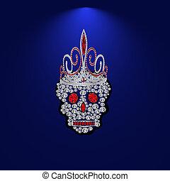 Skull of precious stones 1 - Skull of precious stones on a...